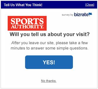 Sports Authority survey invitation