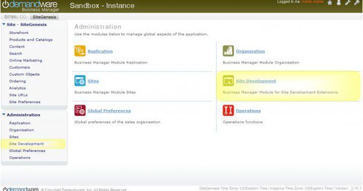 Demandware sandbox instance