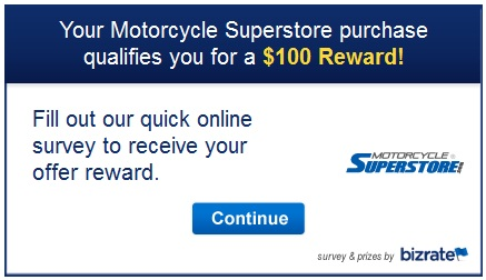 Motorcycle Superstore survey invitation