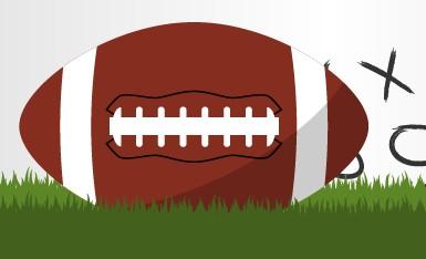 Football on grass illustration