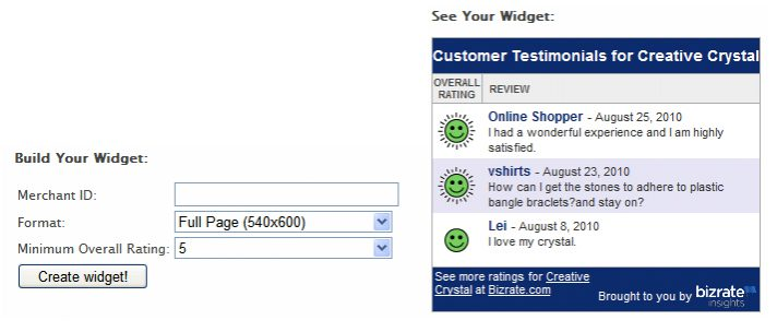 Customer Testimonial Widget