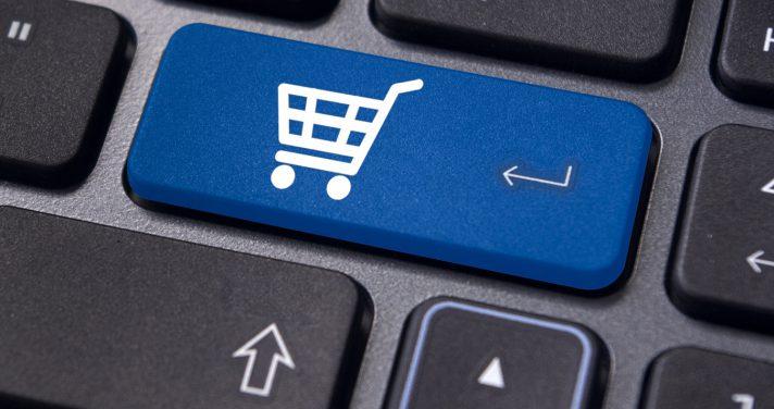 Shopping cart key on a keyboard