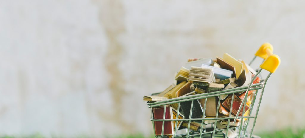Shopping cart filled with books