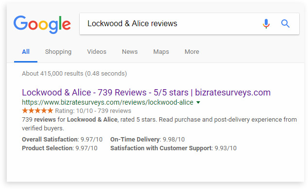 google search result for Lockwood & Alice reviews