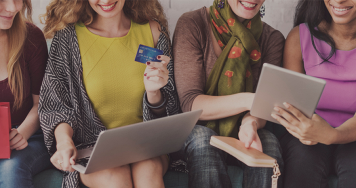 Woman shopping online together