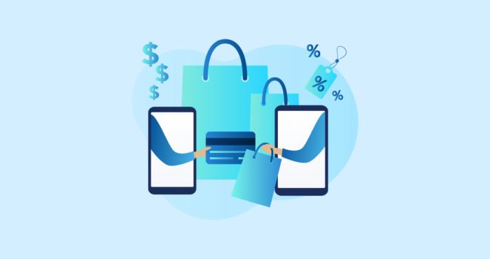 smartphone shopping bags illustration