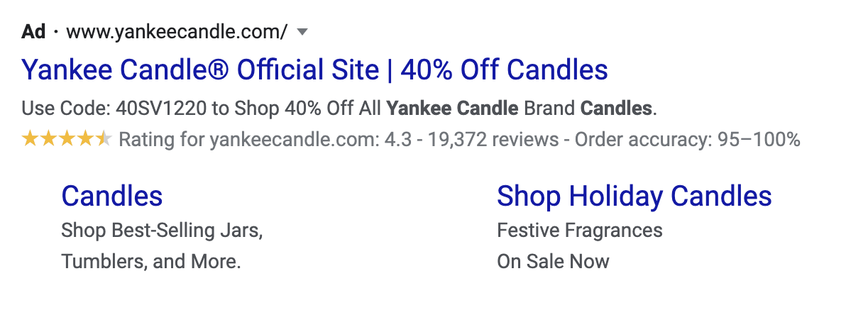 yankee candle seller ratings